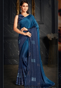 Blue Shaded Sequins Embroidered Saree - 3615