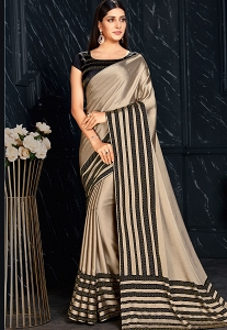 Silver & Black Sequins Embroidered Saree - 3625