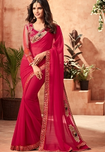 Magenta Georgette Party Wear Saree - 401