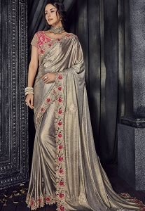 Grey Lycra Heavy Wedding Saree - 4510
