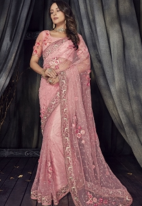 Pink Net Heavy Embroidered Saree - 4513