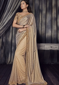 Brown Lycra Designer Party Wear Saree - 4514