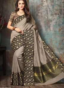 Stylish Tan Grey Handloom Silk Party wear Saree - 5005