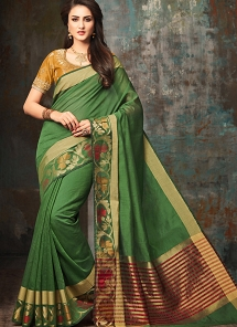 Superb Green Shade Handloom Silk Party wear Saree - 5007