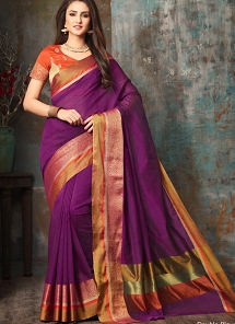 Mystic Purple Handloom Silk Party wear Saree - 5012