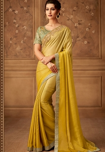 Yellow Oracle Silk Zari Embroidered Designer Saree - 502