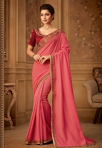 Pink Kajrari Silk Embroidered Designer Saree - 509