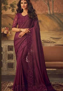 Purple Art Silk Party Wear Saree - 5101