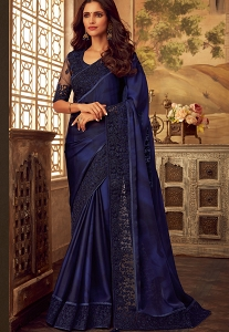 Navy Blue Art Silk Party Wear Saree - 5110