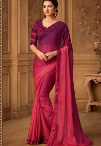 Pink & Purple Two Tone Organic Silk Chiffon Designer Saree - 516