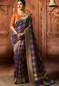 Blue & Orange Pure Viscose Embroidered Silk Saree - 5606