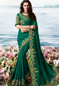 Dark Green Art Silk Heavy Embroidered Saree - 6211