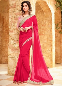 Amusing Pink Georgette Party Wear Stylish Saree