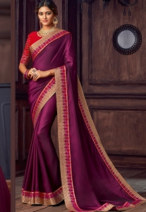 Purple & Red Silk Embroidered Party Wear Saree - 9107