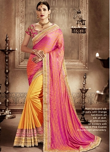 Intrinsic Orange And Rose Pink Designer Half N Half Saree