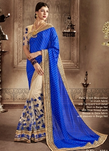 Aesthetic Net Beige And Blue Designer Half N Half Saree