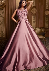 Dusty Pink Satin Designer Flared Gown with Handwork - 04
