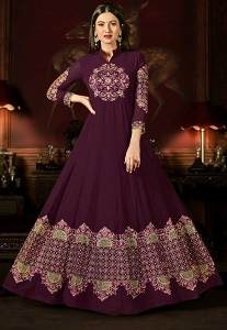 Gauhar Khan Purple Georgette Long Anarkali Suit - 10002