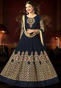 Gauhar Khan Navy Blue Georgette Long Anarkali Suit - 10005