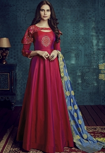 Pink Tafetta Silk Readymade Anarkali Suit - 1001