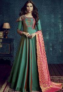Green Tafetta Silk Readymade Anarkali Suit - 1002
