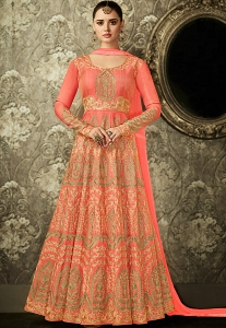 Peach Mulbarry Silk Long Embroidered Anarkali Suit - 8003