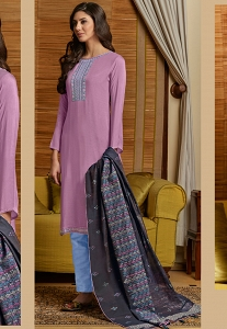 Mauve Muslin Straight Embroidered Trouser Suit - 1006