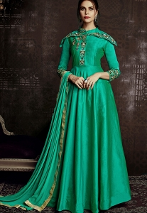 Green Tafetta Silk Readymade Long Anarkali Suit - 1010