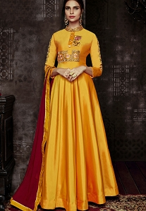 Yellow Tafetta Silk Readymade Long Anarkali Suit - 1013
