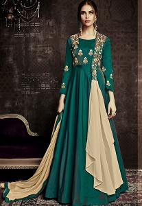 Green Tafetta Silk Readymade Anarkali Suit - 1016