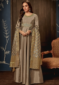 Grey Tafetta Silk Readymade Long Anarkali Suit - 1018