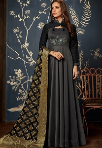 Grey Tafetta Silk Readymade Long Anarkali Suit - 1024