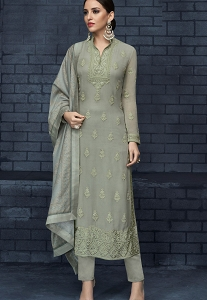 Pastel Grey Georgette Resham Embroidered Straight Trouser Suit - 1073
