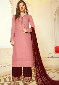 Pink Art Silk Embroidered Palazzo Suit - 11006
