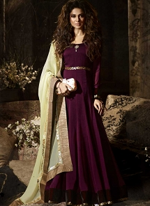 Jennifer Winget Wine Silky Georgette Floor Length Anarkali Suit - 11020