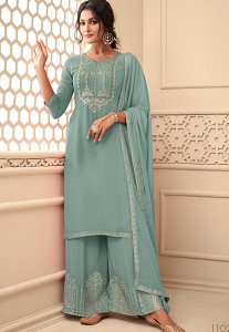 Sky Blue Georgette Embroidered Palazzo Suit - 11021