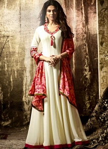 Jennifer Winget Off White Georgette Floor Length Anarkali Suit - 11022