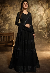 Jennifer Winget Black Georgette Floor Length Designer Suit - 11035