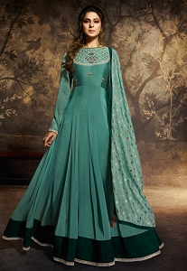 Jennifer Winget Blue Shade Banarasi Silk Floor Length Anarkali Suit - 11040