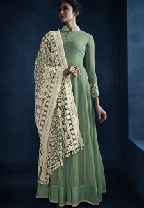 Pastel Green Georgette Long Anarkali Suit - 11045