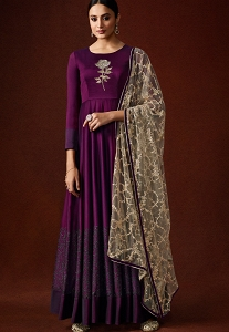 Purple Silky Georgette Long Anarkali Suit - 11051