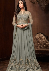 Sonal Chauhan Grey Pure Crepe Floor Length Anarkali Suit - 1106