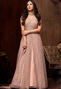 Sonal Chauhan Light Pink Net Long Anarkali Designer Suit - 1108