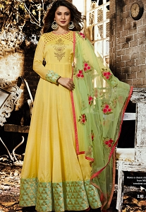 Jennifer Winget Yellow Silk Chanderi Long Anarkali Suit - 1135
