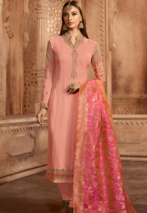 Pink Georgette Embroidered Straight Churidar Suit - 12087