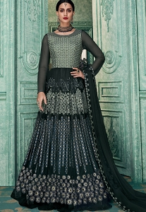 Grey Art Silk Embroidered Floor Length Anarkali Suit - 1232