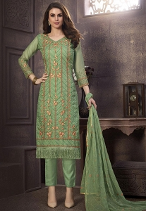 Green Organza Straight Embroidered Suit - 1234