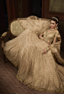 Beige Net Embroidered Floor Length Anarkali Suit - 15005