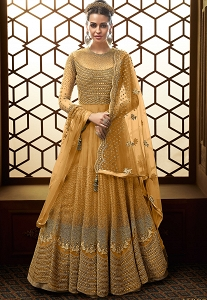 Mustard Net Embroidered Floor Length Anarkali Suit - 15007D
