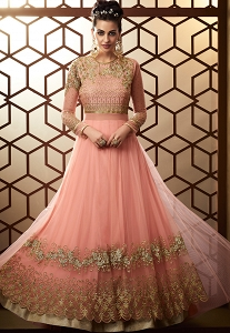Baby Pink Net Embroidered Floor Length Anarkali Suit - 15009